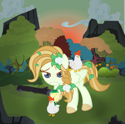 Size: 6095x6062 | Tagged: safe, artist:devorierdeos, oc, oc:clover, bird, chicken, firefly (insect), insect, pegasus, pony, flower, flower in hair, forest, lamp, solo, sunset