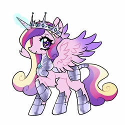 Size: 3902x3902 | Tagged: safe, artist:plushfurby, princess cadance, alicorn, armor, fantasy class, female, guardsmare, mare, royal guard, simple background, solo, warrior, white background