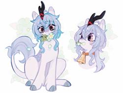 Size: 1100x838 | Tagged: safe, artist:serafelis, kirin, pony, bell, female, flower, leonine tail, mare