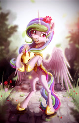 Size: 1761x2743 | Tagged: safe, artist:itssim, princess celestia, alicorn, pony, armor, bipedal, flower, forest, helmet, solo, wings