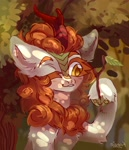 Size: 1864x2160 | Tagged: safe, artist:konejo, autumn blaze, kirin, autumn blaze's puppet, one eye closed, solo