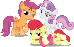 Size: 5038x3197 | Tagged: safe, artist:djdavid98 edits, artist:frownfactory, artist:sollace, edit, editor:slayerbvc, vector edit, apple bloom, scootaloo, sweetie belle, earth pony, pegasus, unicorn, :o, apple bloom's bow, bedroom eyes, bow, cutie mark, cutie mark crusaders, draw me like one of your french girls, female, filly, hair bow, lidded eyes, looking at you, lying down, no regrets, on side, open mouth, raised hoof, simple background, smiling, smug, socks (coat markings), the cmc's cutie marks, transparent background, vector