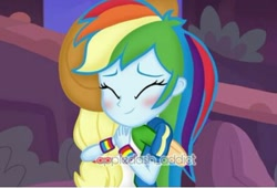 Size: 442x301 | Tagged: safe, artist:appledash_addict, edit, edited screencap, screencap, applejack, rainbow dash, equestria girls, equestria girls series, rollercoaster of friendship, appledash, blushing, character swap, female, hug, lesbian, shipping, watermark