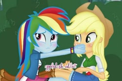 Size: 450x299 | Tagged: safe, applejack, rainbow dash, equestria girls, appledash, female, lesbian, shipping