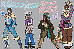 Size: 1280x854 | Tagged: safe, artist:korencz11, paprika paca, pom lamb, shanty (tfh), velvet reindeer, human, them's fightin' herds, apron, bandana, basket, bell, boots, breasts, choker, cleavage, clothes, coat, community related, cravat, detached sleeves, figure skates, hat, humanized, jeans, jewelry, leg warmers, leggings, leotard, mongolian shepherd hat, pants, picnic basket, pirate, sash, satchel, shanty goat, shirt, shoes, simple background, t-shirt, text, tiara