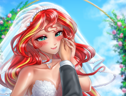Size: 3541x2717 | Tagged: safe, artist:racoonsan, sunset shimmer, human, equestria girls, bare shoulders, beautiful, blushing, breasts, bride, choker, cleavage, clothes, cloud, crying, cute, dress, female, hand on face, humanized, marriage, offscreen character, plants, pov, shimmerbetes, shiny skin, sky, sleeveless, tears of joy, teary eyes, wedding, wedding dress, wedding veil