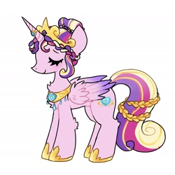 Size: 2365x2365 | Tagged: safe, artist:plushfurby, princess cadance, alicorn, alternate design, alternate hairstyle, alternate universe, colored wings, crown, eyes closed, female, hair bun, hoof shoes, jewelry, multicolored wings, regalia, ring, simple background, smiling, solo, wedding ring, white background, wings