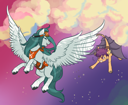 Size: 2000x1650 | Tagged: safe, artist:lavvythejackalope, oc, oc only, earth pony, pegasus, pony, artificial wings, augmented, clothes, duo, flying, goggles, laughing, mechanical wing, outdoors, pegasus oc, rearing, scared, stars, unshorn fetlocks, wings