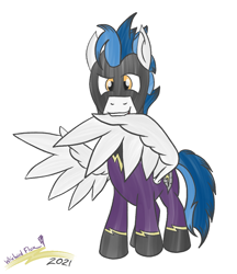 Size: 880x1020 | Tagged: safe, artist:whirlwindflux, oc, oc:whirlwind flux, pegasus, pony, april fools, clothes, costume, grooming, male, preening, shadowbolts, shadowbolts costume, stallion