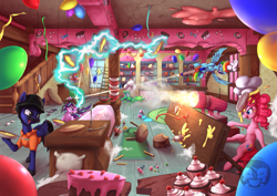 Size: 1455x1029 | Tagged: safe, artist:calena, gummy, pinkie pie, rainbow dash, starlight glimmer, oc, oc:jesus, earth pony, pegasus, pony, unicorn, apple, apple pie, attack, balloon, box, broken, broken window, bullet, cake, candy, candy cane, cannon, canon x oc, carpet, chef's hat, cherry, clothes, commission, cupcake, detailed, detailed background, everything is ruined, explosion, facial hair, flour, flour sack, food, fork, gum, gun, hat, helmet, help me, ice cream, ladder, looking at each other, magic, marshmallow, marshmallow double shooter, meme, milkshake, moustache, nails, pegasus oc, pie, plate, red button, rocket launcher, serious, serious face, signature, smoke, spilled milk, spoon, stairs, stool, strawberry, streamers, sugarcube corner, table, tackle, tongue out, war, watermelon, weapon, what the hay?, whataburger, window