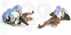 Size: 1024x512 | Tagged: safe, artist:appledew, oc, oc:astride, pony, chibi, horns, irl, lying down, obtrusive watermark, photo, plushie, prone, solo, watermark