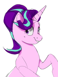 Size: 2440x3252 | Tagged: safe, artist:cadillacdynamite, starlight glimmer, pony, unicorn, cute, female, glimmerbetes, raised hoof, simple background, smiling, solo, white background