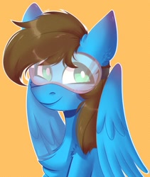 Size: 1500x1781 | Tagged: safe, artist:morttdecai3, oc, oc only, oc:blue scroll, pegasus, pony, bust, looking at you, male, portrait, safety goggles, wings
