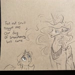 Size: 2048x2048 | Tagged: safe, artist:greyscaleart, princess luna, twilight sparkle, alicorn, pony, unicorn, constellation freckles, cute, dialogue, duo, female, filly, filly twilight sparkle, floppy ears, freckles, monochrome, pencil drawing, sad, sadorable, traditional art, twiabetes, unicorn twilight, younger