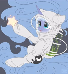 Size: 3732x4096   Tagged: safe, artist:reterica, princess luna, alicorn, pony, female, filly, open mouth, s1 luna, spacesuit, stars, woona, younger