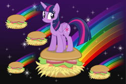 Size: 10676x7138   Tagged: safe, artist:anime-equestria, twilight sparkle, alicorn, blushing, burger, female, food, hay burger, horn, mare, rainbow, smiling, solo, space, sparkles, wings