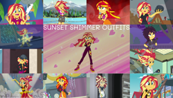 Size: 1280x722 | Tagged: safe, edit, edited screencap, editor:quoterific, screencap, sunset shimmer, human, costume conundrum, costume conundrum: sunset shimmer, dance magic, display of affection, eqg summertime shorts, equestria girls, equestria girls (movie), equestria girls series, forgotten friendship, friendship games, good vibes, i'm on a yacht, legend of everfree, my past is not today, opening night, rainbow rocks, sunset's backstage pass!, the science of magic, spoiler:eqg series (season 2), spoiler:eqg specials, belly button, cap, clothes, confident, cute, cutie mark, cutie mark on clothes, dance magic (song), denim shorts, determined, determined look, embrace the magic, eyes closed, female, geode of empathy, happy, hat, jacket, leather, leather jacket, long hair, magical geodes, messy hair, microphone, multicolored hair, music festival outfit, one eye closed, open mouth, opening night: sunset shimmer, ponytail, serious, shimmerbetes, shorts, singing, smiling, solo, to be or not to be, tomboy, visor cap, welcome to the show