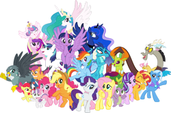 Size: 1920x1274 | Tagged: safe, artist:alexdti, apple bloom, applejack, discord, fluttershy, gabby, pinkie pie, princess cadance, princess celestia, princess ember, princess flurry heart, princess luna, rainbow dash, rarity, scootaloo, shining armor, spike, starlight glimmer, sunset shimmer, sweetie belle, thorax, trixie, twilight sparkle, alicorn, changedling, changeling, draconequus, dragon, earth pony, griffon, pegasus, unicorn, alicorn pentarchy, crown, cup, cutie mark crusaders, group photo, jewelry, king thorax, male, mane seven, mane six, regalia, royal sisters, scootaloo's scooter, scooter, siblings, simple background, sisters, teacup, transparent background, twilight sparkle (alicorn), vector