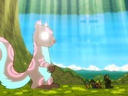 Size: 800x600 | Tagged: safe, artist:rangelost, oc, oc only, oc:apple basket, oc:moon flower, oc:ratatosk, oc:smoke, oc:trailblazer, bat pony, dragon, earth pony, squirrel, cyoa:d20 pony, bat pony oc, cyoa, dragon oc, earth pony oc, glowing eyes, pixel art, ratatosk, story included, tree, yggdrasil