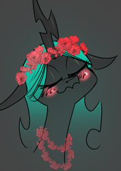 Size: 2480x3508 | Tagged: safe, artist:underpable, queen chrysalis, changeling, changeling queen, blushing, bust, cute, cutealis, eyes closed, female, floppy ears, floral head wreath, flower, flower in hair, flower necklace, high res, portrait, smiling, solo, uwu