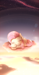 Size: 2000x3844 | Tagged: safe, artist:phoenixrk49, fluttershy, pegasus, pony, cheek fluff, cloud, ear fluff, eyes closed, female, folded wings, high res, lens flare, lying down, mare, on a cloud, outdoors, peaceful, prone, sky, sleeping, smiling, solo, starry sky, sunset, wallpaper, wings