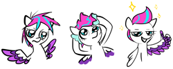 Size: 1478x594 | Tagged: safe, artist:saltycube, derpibooru exclusive, zipp storm, pegasus, pony, g5, female, hair gel, mare, messy mane, simple background, solo, sparkle, thumbs up, white background, wing hands, wings