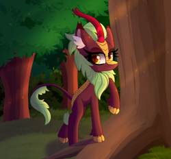 Size: 7000x6500 | Tagged: safe, artist:windykirin, cinder glow, summer flare, kirin, female, forest, grass, raised hoof, solo, tree