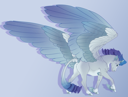 Size: 3151x2382 | Tagged: safe, artist:seffiron, oc, oc:stormfall, pegasus, pony, colored wings, magical lesbian spawn, male, multicolored wings, offspring, parent:rainbow dash, parent:rarity, parents:raridash, solo, stallion, winged hooves, wings