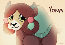 Size: 2858x2000   Tagged: safe, artist:tayarinne, yona, yak, chest fluff, cute, female, high res, leg fluff, looking at you, solo, yonadorable