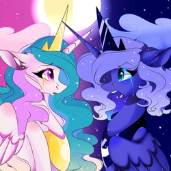 Size: 1080x1079 | Tagged: safe, alternate version, artist:tessa_key_, princess celestia, princess luna, alicorn, pony, bust, crying, duo, ear fluff, eyelashes, female, horn, jewelry, open mouth, peytral, siblings, sisters, tiara, wings
