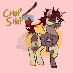 Size: 900x900 | Tagged: safe, artist:lavvythejackalope, oc, oc only, earth pony, pony, abstract background, blood, earth pony oc, grin, raised hoof, smiling, stitches