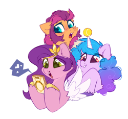 Size: 1500x1400 | Tagged: safe, alternate version, artist:mirtash, edit, izzy moonbow, pipp petals, sunny starscout, earth pony, pegasus, pony, unicorn, g5, adorapipp, ball, blushing, cellphone, cute, female, freckles, grin, heart, hornball, izzy's tennis ball, izzybetes, mare, meta, open mouth, phone, raised hoof, simple background, smartphone, smiling, sunnybetes, tennis ball, twitter, unshorn fetlocks, white background