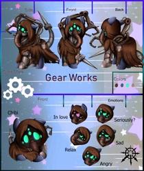 Size: 818x976   Tagged: safe, artist:pridark, oc, oc only, oc:gear works, cyborg, cyborg pony, pony, augmentation, chaos, chibi, clothes, commission, crossover, dark mechanicus, emotions, fanfic art, hood, reference sheet, robe, robotic arm, servo arm, solo, techpriest, warhammer (game), warhammer 40k