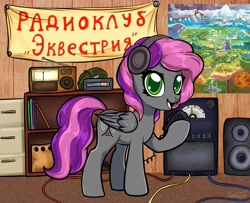 Size: 2458x2000 | Tagged: safe, artist:megabait, oc, oc only, pegasus, pony, electronics, equestria map, female, headphones, mare, music speakers, radio clubhouse, radio station, solo, transmitter, wires