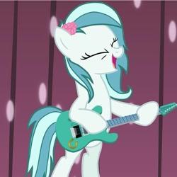 Size: 719x720 | Tagged: safe, oc, oc:ice cream (bronukon), bronukon, guitar, mascot, musical instrument