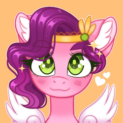 Size: 775x775 | Tagged: safe, artist:duskinova, pipp petals, pegasus, pony, g5, adorapipp, blushing, bust, cute, ear fluff, eyebrows, eyebrows visible through hair, eyelashes, female, green eyes, heart, looking at you, lowres, mare, orange background, png, portrait, simple background, smiling, solo, sparkles, spread wings, spreading, wings