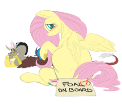 Size: 9093x7894 | Tagged: safe, artist:snspony, discord, fluttershy, draconequus, pegasus, pony, discoshy, female, frog (hoof), male, preggoshy, pregnant, rear view, shipping, simple background, solo focus, straight, underhoof, white background