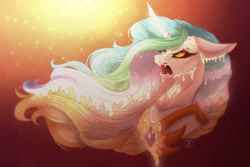 Size: 1280x854 | Tagged: safe, artist:janeraver, daybreaker, princess celestia, alicorn, pony, bust, female, mare, melting, solo, sunlight, transformation