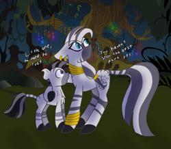 Size: 1772x1547 | Tagged: safe, artist:gallantserver, zecora, oc, oc:zephyr, zebra, female, male, mother and child, mother and son
