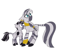 Size: 1772x1547 | Tagged: safe, alternate version, artist:gallantserver, zecora, oc, oc:zephyr, zebra, female, male, mother and child, mother and son, simple background, transparent background