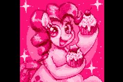 Size: 1500x1000 | Tagged: safe, artist:waninoaburiyaki, pinkie pie, earth pony, cupcake, food, monochrome, pink, pixel art, solo