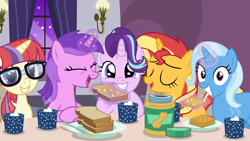 Size: 8000x4500 | Tagged: safe, artist:thatusualguy06, amethyst star, moondancer, sparkler, starlight glimmer, sunset shimmer, trixie, pony, unicorn, bread, break-fasting at ponyville, crackers, food, irrational exuberance, looking at you, missing accessory, peanut butter, peanut butter crackers, smiling, smiling at you, that pony sure does love peanut butter, that pony sure does love peanut butter crackers, vector