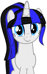 Size: 2239x3528 | Tagged: safe, artist:severity-gray, oc, oc:coldlight bluestar, pony, unicorn, base used, cute, eyeshadow, female, horn, looking at you, makeup, mare, ponytail, smiling, smiling at you, solo, tail