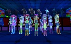 Size: 1024x640   Tagged: safe, artist:sonic5421, apple bloom, applejack, fluttershy, indigo zap, lemon zest, pinkie pie, princess cadance, princess celestia, princess luna, rainbow dash, rarity, scootaloo, sour sweet, sugarcoat, sunny flare, sunset shimmer, sweetie belle, twilight sparkle, equestria girls, 3d, dean cadance, demoman, engineer, gmod, heavy weapons guy, medic, principal celestia, pyro, scout, shadowbolts, sniper, spy, team fabulous 2, team fortress 2, vice principal luna, wondercolts
