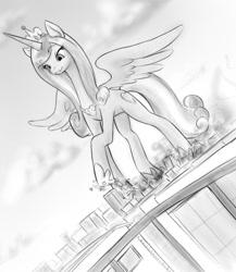 Size: 786x904 | Tagged: safe, artist:alloyrabbit, princess cadance, alicorn, pony, city, crushing, destruction, female, giant pony, giantess, macro, mare, monochrome, stomping