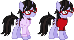 Size: 2225x1209 | Tagged: safe, artist:lightningbolt, derpibooru exclusive, pony, unicorn, .svg available, brendon urie, clothes, frown, glasses, hoodie, horn, male, panic! at the disco, ponified, shirt, simple background, solo, stallion, standing, svg, t-shirt, transparent background, vector