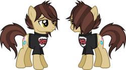 Size: 2272x1270 | Tagged: safe, artist:lightningbolt, derpibooru exclusive, earth pony, pony, .svg available, clothes, frown, hair over one eye, male, panic! at the disco, ponified, ryan ross, shirt, simple background, solo, stallion, standing, svg, t-shirt, transparent background, vector