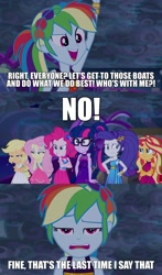 Size: 1284x2181 | Tagged: safe, edit, edited screencap, screencap, applejack, fluttershy, pinkie pie, rainbow dash, rarity, sci-twi, sunset shimmer, twilight sparkle, equestria girls, equestria girls series, spring breakdown, angry, applejack is not amused, humane five, humane seven, humane six, pinkie pie is not amused, rarity is not amused, sci-twi is not amused, sunset shimmer is not amused, unamused, yacht