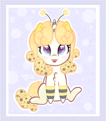 Size: 1400x1600 | Tagged: safe, artist:waretmilout, bee, insect, unicorn, animal costume, bee costume, blue background, clothes, commission, costume, cute, food, honey, simple background, tights, yellow