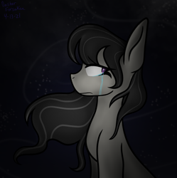 Size: 1524x1530   Tagged: safe, artist:dasher.forsaken, octavia melody, earth pony, pony, crying, flowing mane, frown, hair blowing, solo, wind
